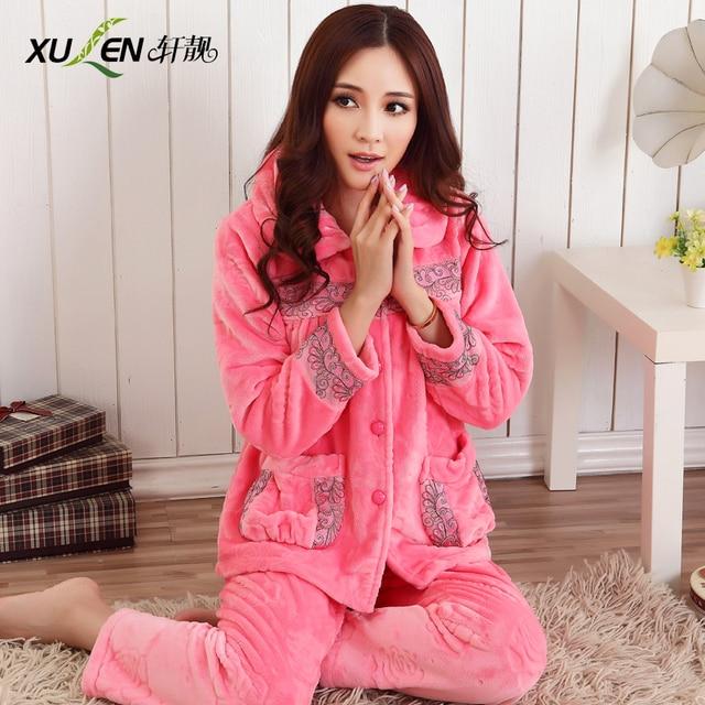 4acfcd215b9 Autumn and winter Women plus size thickening coral fleece sleepwear women s  winter long-sleeve flannel