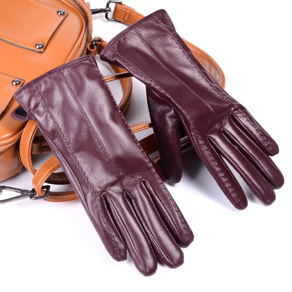 Women's Ladies 100% Genuine Leather Winter Warm Thick Lining Touch Screen Gloves Graceful Gloves