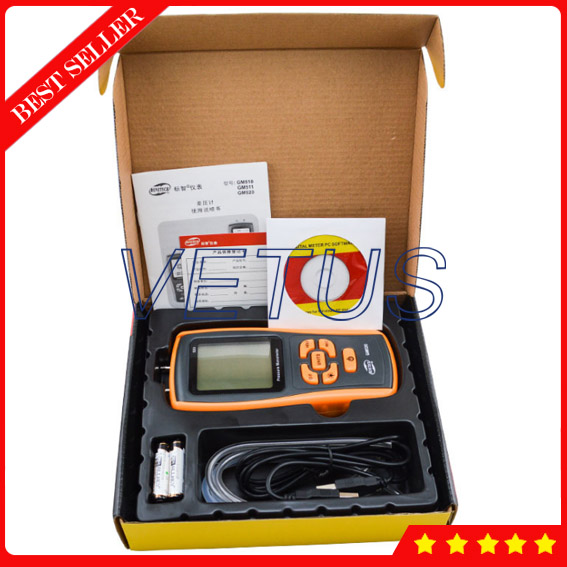 350kPa Measuring range GM520 Portable USB Digital Pressure Gauge Manometer lcd pressure gauge differential pressure meter digital manometer measuring range 0 100hpa manometro temperature compensation