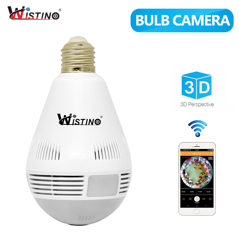 Wistino Bulb Light Wireless IP Camera Wifi 960P VR Panoramic FishEye Cameras Lamp Security CCTV Baby Monitor 360 Degree Audio IR ysa 1080p 960p 360 degree lamp bulb wireless ip cameras wi fi fisheye security cctv panoramic two way audio 2mp ir p2p light cam