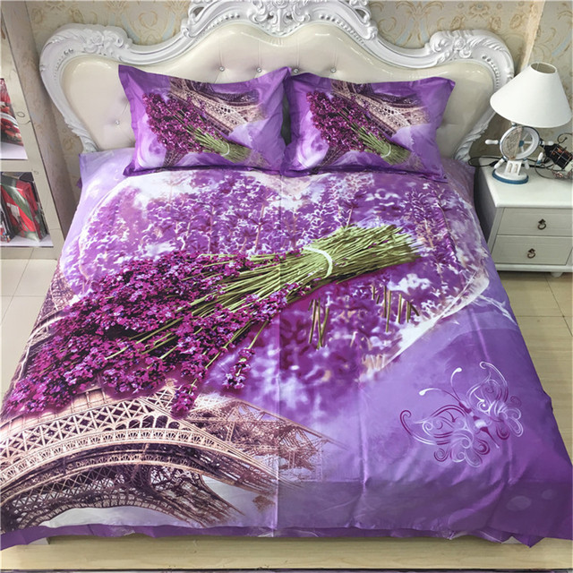 French Lavender The Eiffel Tower Bedding Set Queen King Size Floral Print  Light Purple Duvet Cover