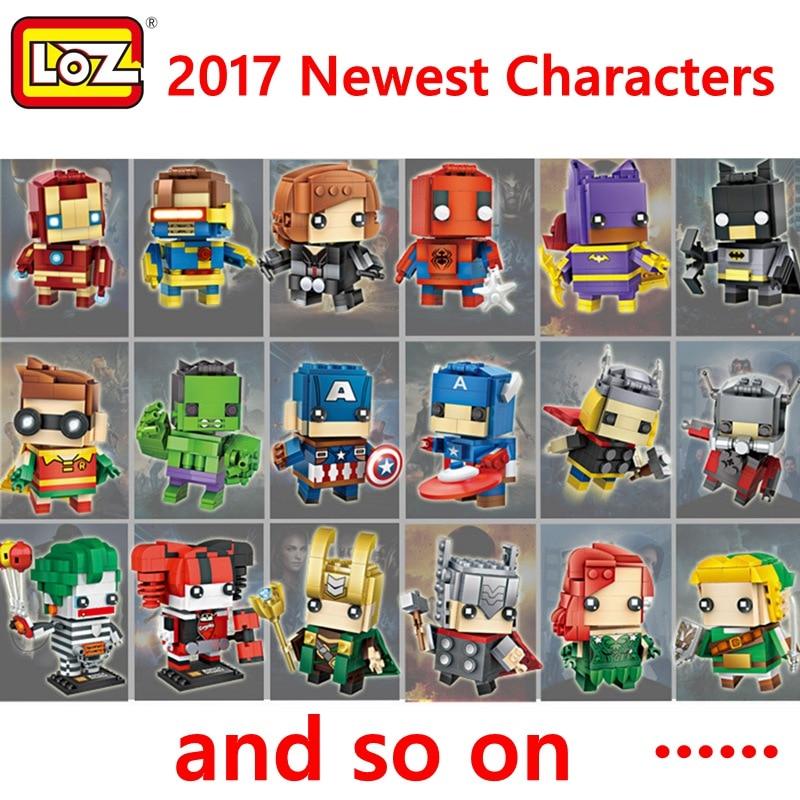 LOZ Single Sale Super Hero Batman Robin Ironman Thor Loki Harley Quinn Poison Ivy Mini Bricks Building Blocks Toys for Children