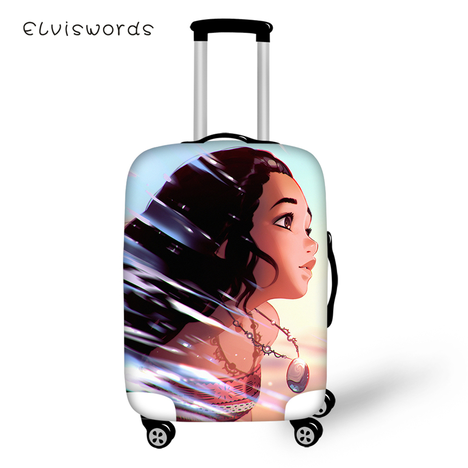 ELVISWORDS Protective Suitcase Cover Moana Girls Prints Pattern Elastic Dust-proof Luggage Waterproof Accessories