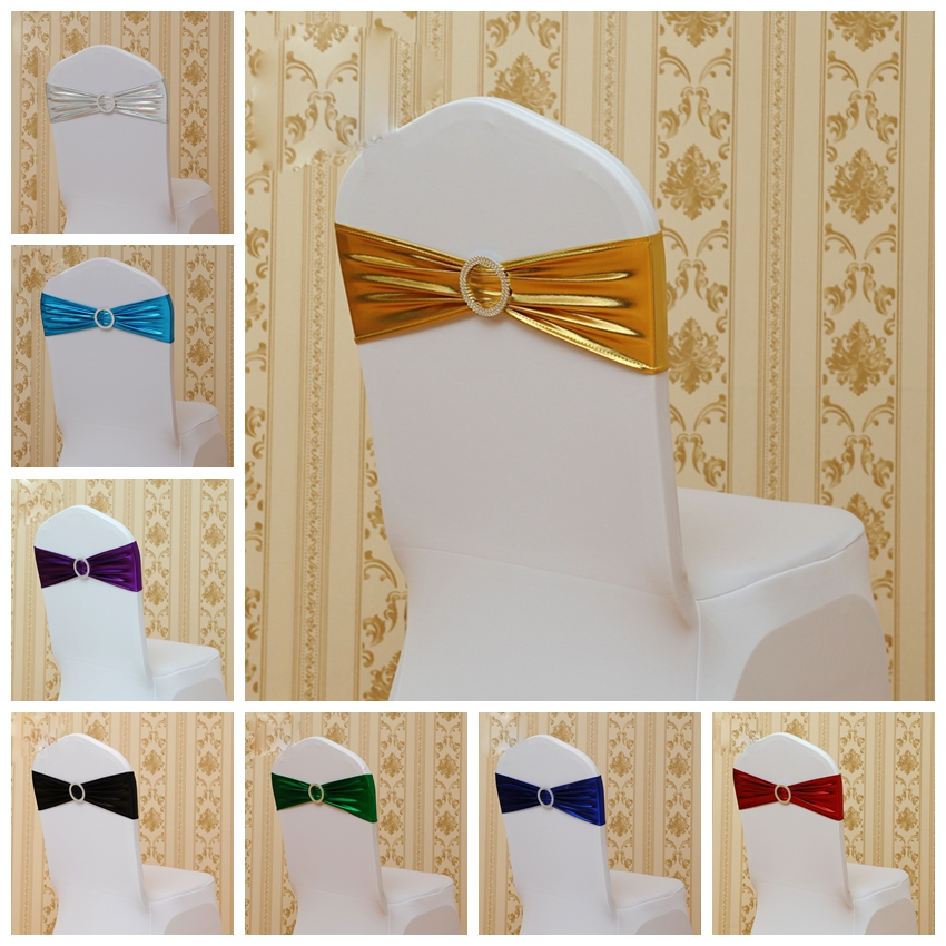 Hot Sale Shiny Metallic Lycra Sash Spandex Bands Shiny Ribbon With Round Buckle Wedding Party Hotel Decoration Chair Sashes