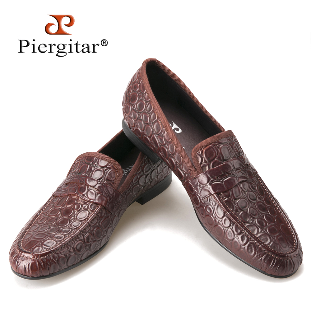Piergitar 2016 new style Marble Embossing Brown Genuine Leather Loafers Men Casual shoes Men's Flats SIze US 4-17 Free shipping cbjsho brand men shoes 2017 new genuine leather moccasins comfortable men loafers luxury men s flats men casual shoes