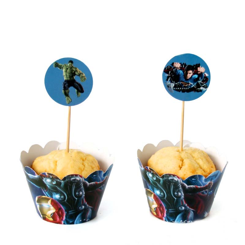 12 Set Superhero Avengers Cupcake Wrappers Cake Toppers Spiderman Batman Label Birthday Party Kids boy Favor Decoration Supplies