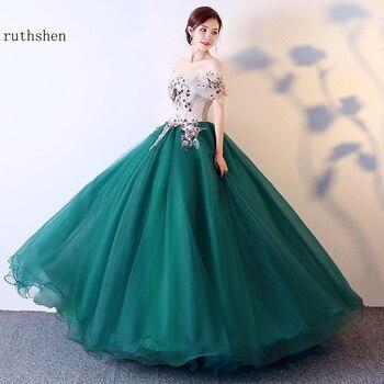 Arabic Prom Dresses Long Off Shoulder Elegant Ball Gown Masquerade Dress Green Debutante Formal - discount item  29% OFF Special Occasion Dresses