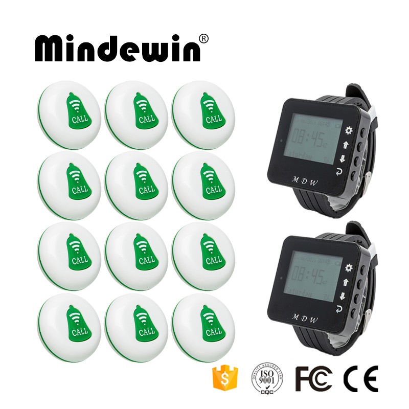 Mindewin Pager Restaurant Wireless Waiter Call Server Paging System 12PCS Call Button M-K-1 + 2PCS Watch Pager M-W-1 wireless guest pager system for restaurant equipment with 20 table call bell and 1 pager watch p 300 dhl free shipping