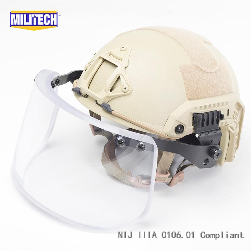 MILITECH DE Tan Maritime Cut Deluxe NIJ 3A IIIA casque pare-balles rapide et visière Set affaire casque balistique masque pare-balles