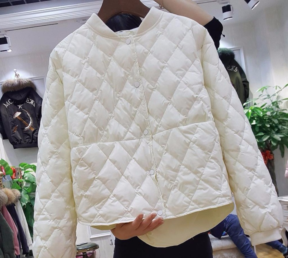 2019 New Baseball   Down   Jacket Women Short White Duck   Down   Outwear Loose Casual   Coat   Ultra Light   Down   Jackets Over Size
