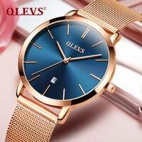 Gold Watch OLEVS Top Brand Business Women Luxury Watch Casual Full Steel Calendar Wristwatches Quartz Ladies