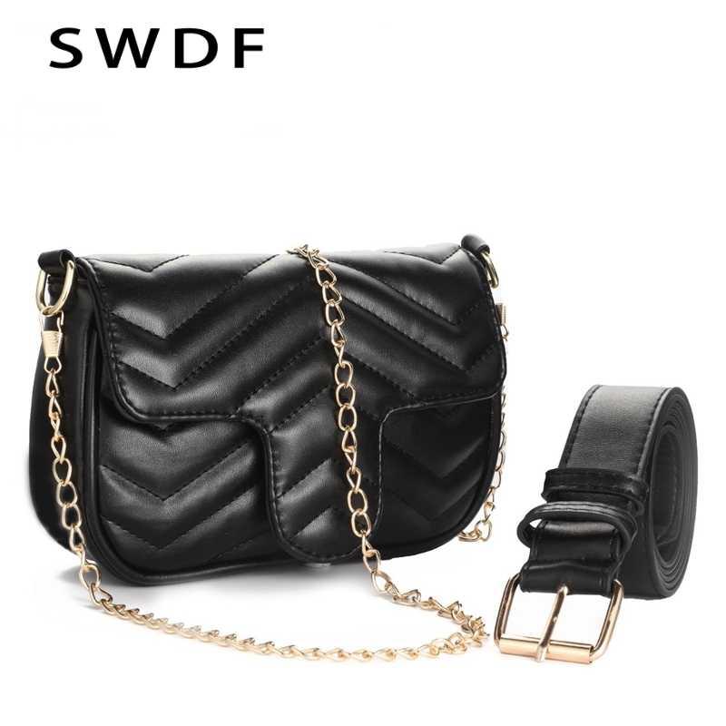 09ae2174f98b SWDF 2019 Брендовая женская кожаная сумка простая сумка на плечо маленькая  квадратная посылка сумка-мессенджер
