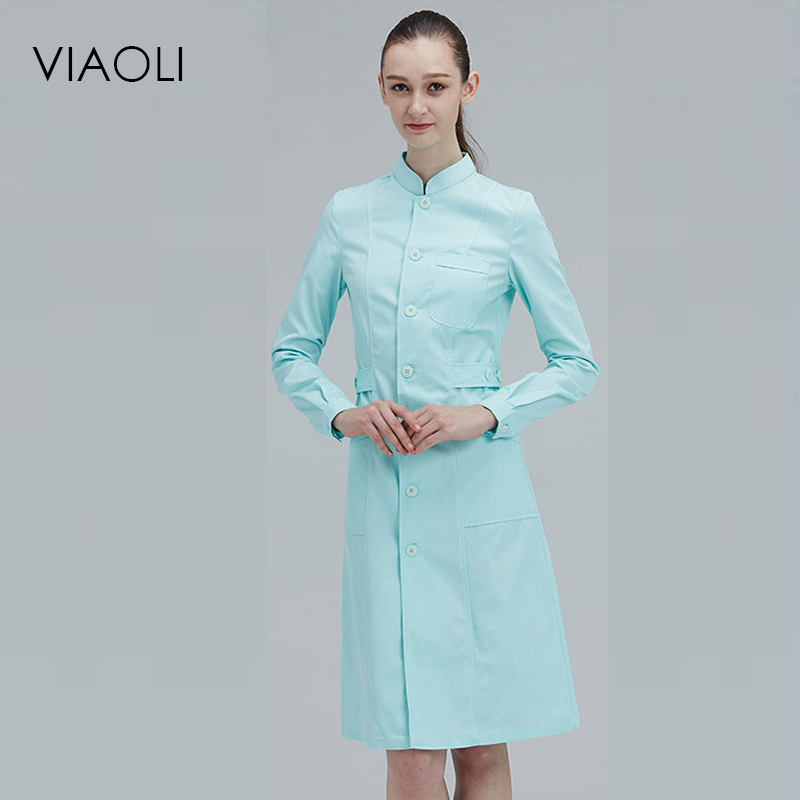 Viaoli Long Sleeve Stand Collar  Women Medical Coat  Uniform Medical Lab Coat Hospital Doctor Slim Multiple Colour