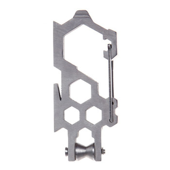 Outdoor multifunction edc tool hexagon wrench para-biner pulley system stainless steel carabiner opener rope hang pulley buckle
