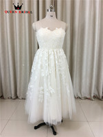 Custom Made A Line Sweetheart Lace Romantic Tea Length Short Real Photos Wedding Gowns Vestido De