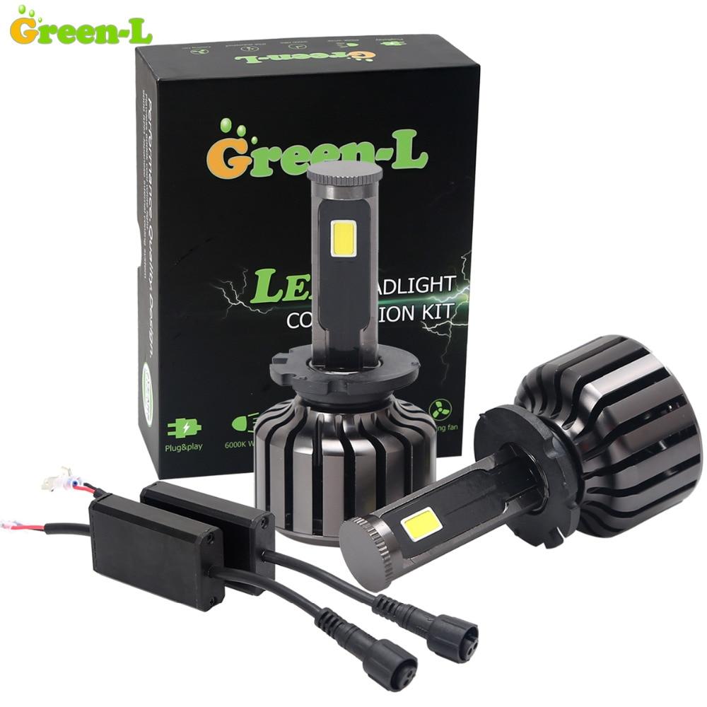 Green L 90W 9000LM D2S COB LED Headlight Conversion Kit 12V Fog Daytime Running Light Bulbs