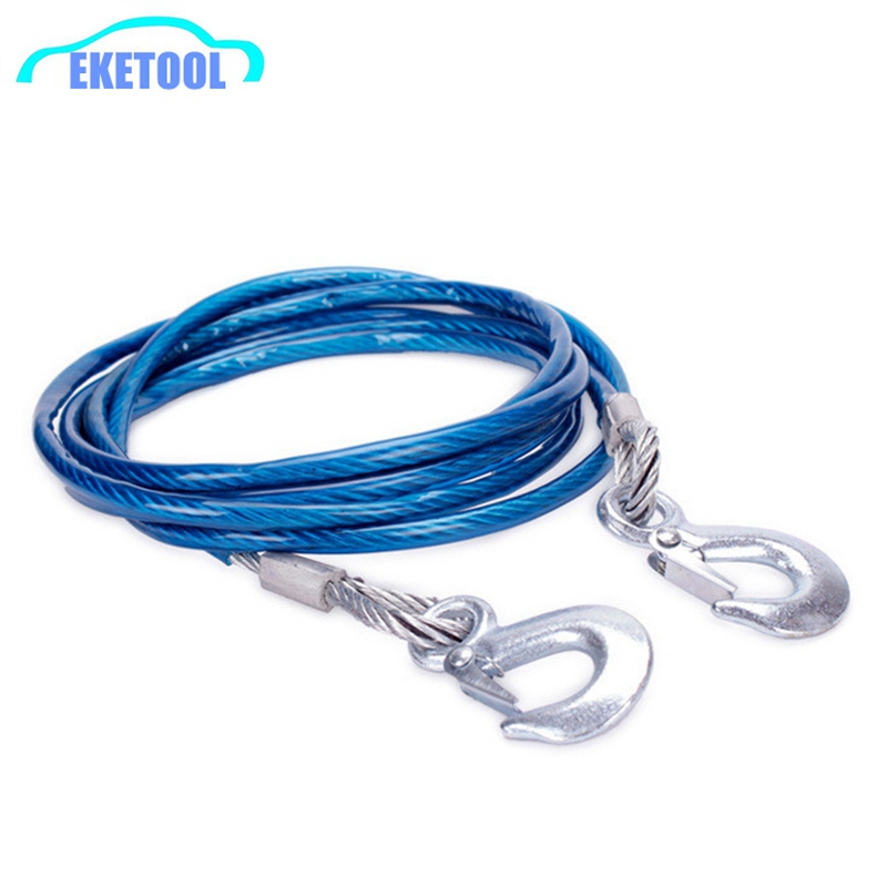 New Heavy Duty Tow Ropes 4M 5Tons Wire Cable High Strength Safety Hook  Steel Wire Trailer