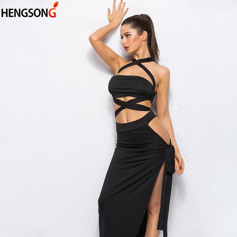Halter Strapless Split Sexy Women Dress 2019 Elegant Evening Party Dress Vestidos Hollow Out Club Bandage Dress Female
