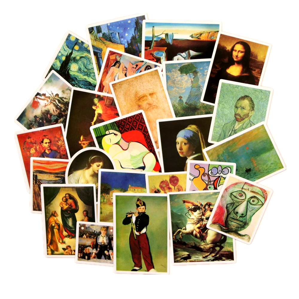 24PCS Famous Painting Stickers Van Gogh Oil Painting Pattern Mona Lisa World Masterpiece Cool Laptop Decoration Sticker