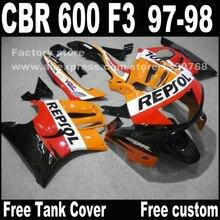 Мотоцикл части для HONDA CBR 600 F3 обтекатели 1997 1998 CBR600 F3 97 98 желтый черный REPSOL обтекателя комплект 7 подарки