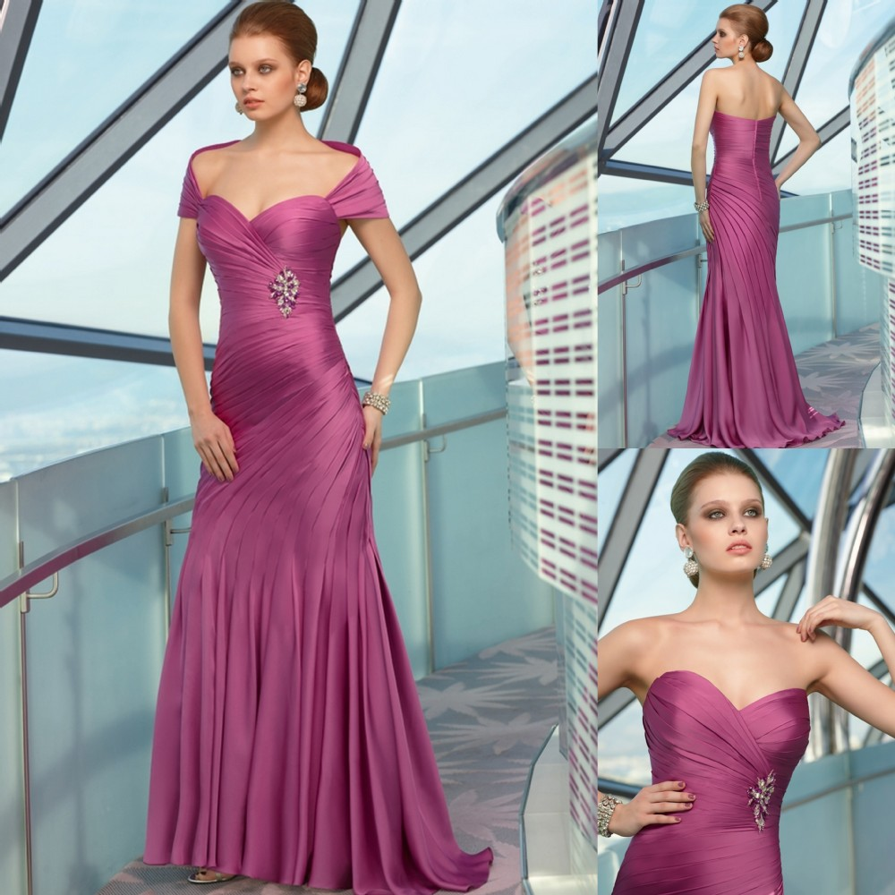Ruffle Pleated Floor Length Dress Detachable Strap Lilac Fashion ...
