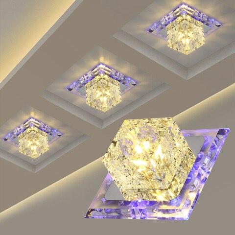 luz de teto simples e moderno quadrado cristal conduziu a lampada do teto criativo luzes