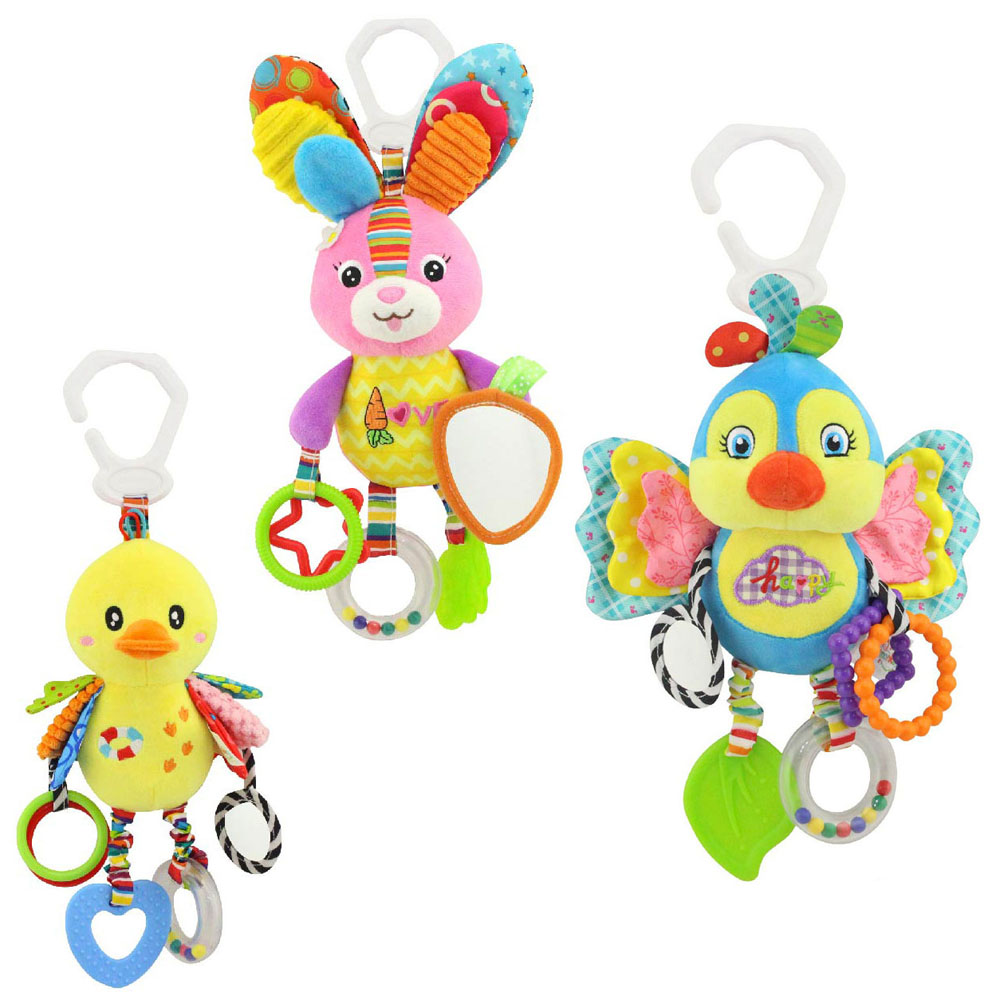 Quality rabbit duck bird plush toys bed baby mobile hanging baby rattles toy giraffe with bell ring infant teether Toys gift