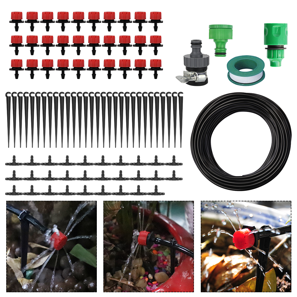 5m 10m 25m Vannslange 4 / 7mm Micro Drip Irrigation System DIY Hage Vannsett for drivhusplanter Justerbare Drippere