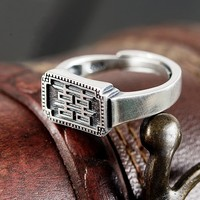 S925 sterling silver ring open square double happiness index finger ring silver ring free shipping