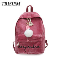 Teenage backpacks for girls velour backpack women bag pink ball school backpack Embroidery swans winter book bag mochila