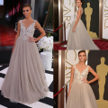 Fashion Red Capet Deep V-Neck Tulle Lace Long Evening Dress Appliques/Beads Oscar Celebrity Dresses 2014 GIULIANA RANCIC