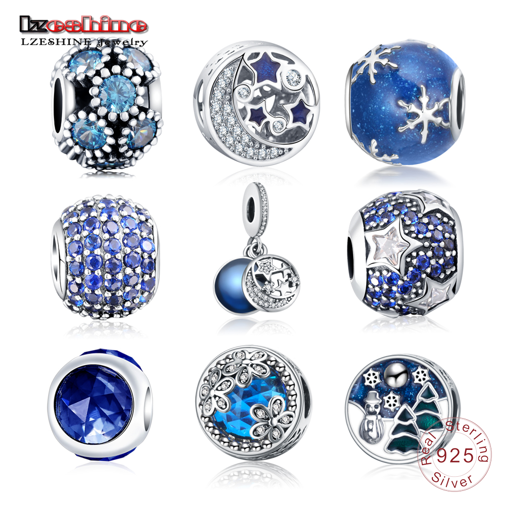LZESHINE Authentic 925 Sterling Silver Sparkling Blue Star&Ocean Charms Beads Fit Original Pandora Charm Bracelets Jewelry