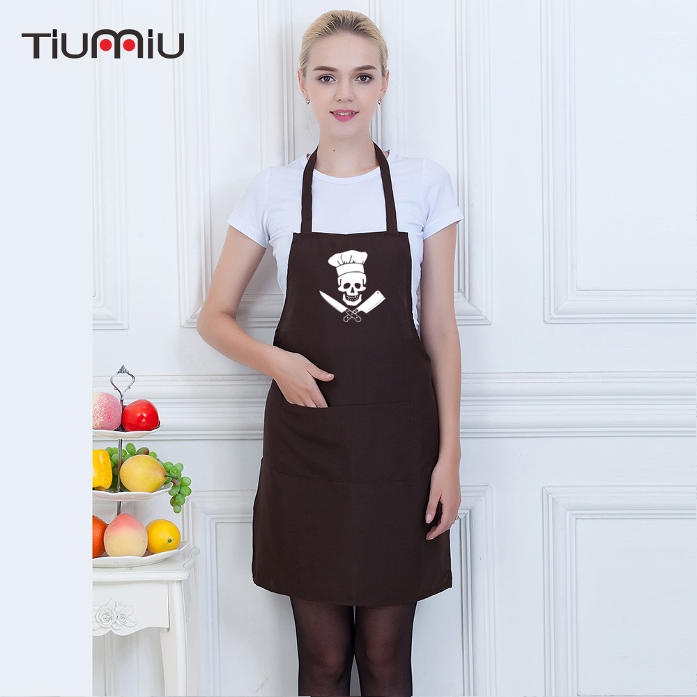 Chef Aprons Funny Skull Printed Food Service Kitchen Restaurant Hotel Cafe Bakery Chef Waiter Waitress Cook Workwear Aprons