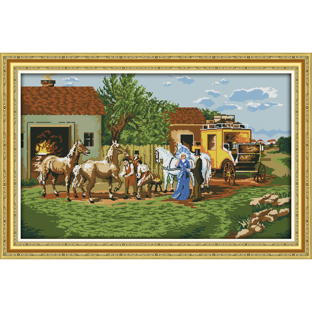 Everlasting love On their journey Chinese cross stitch kits  Ecological cotton stamped 11 14CT DIY new year decorations for home