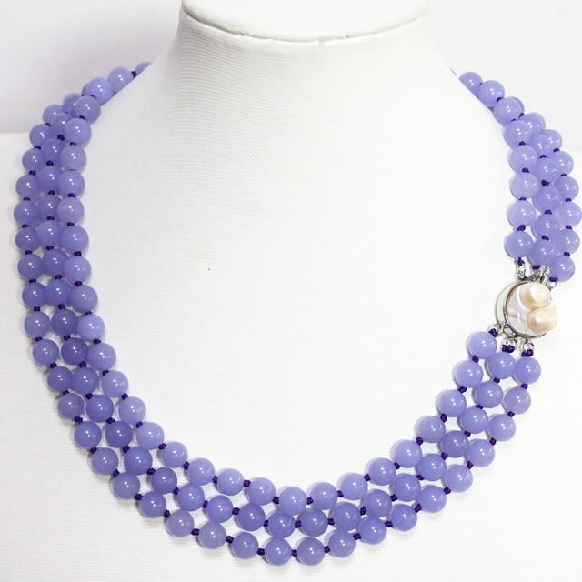 15804eb41b44 3 filas romántica 8mm purple violet madre jasper ronda collar de los granos de  piedra de