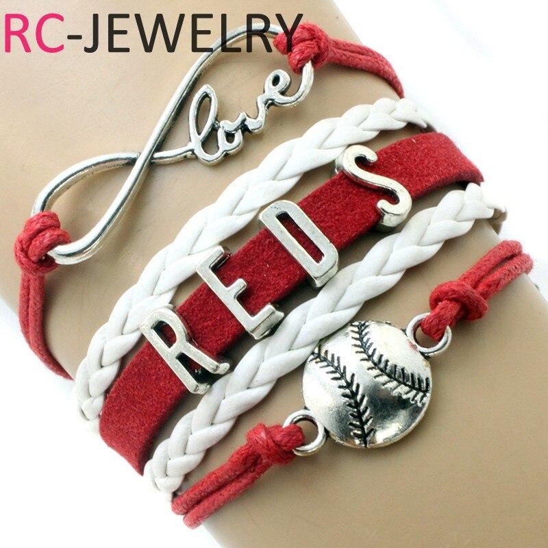 CINCINNATI Baseball Infinity Bracelet RED/WHITE Make Your Own Design Free Shipping