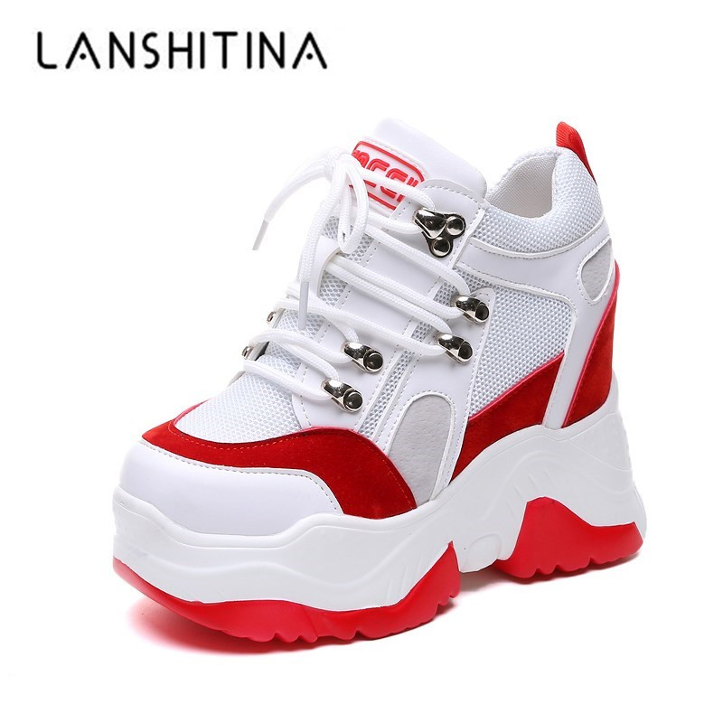 New Women High Top Sneakers Platform Wedge Heels Leather Shoes 10CM Summer Breathable Casual Shoes Zapatillas Deportivas Mujer