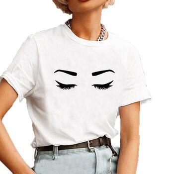 Eyelash Eyebrow Graphic Tee Shirt Femme Summer Short Sleeve O-neck Cotton T Shirt Women Black White Casual Ladies Tops