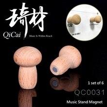 QiCai QC0031 Music Stand Magnet vyrobený z bukového dřeva, sada 6 kusů, držení hudebního stojanu na hudební stojan a jiné kovové povrchy