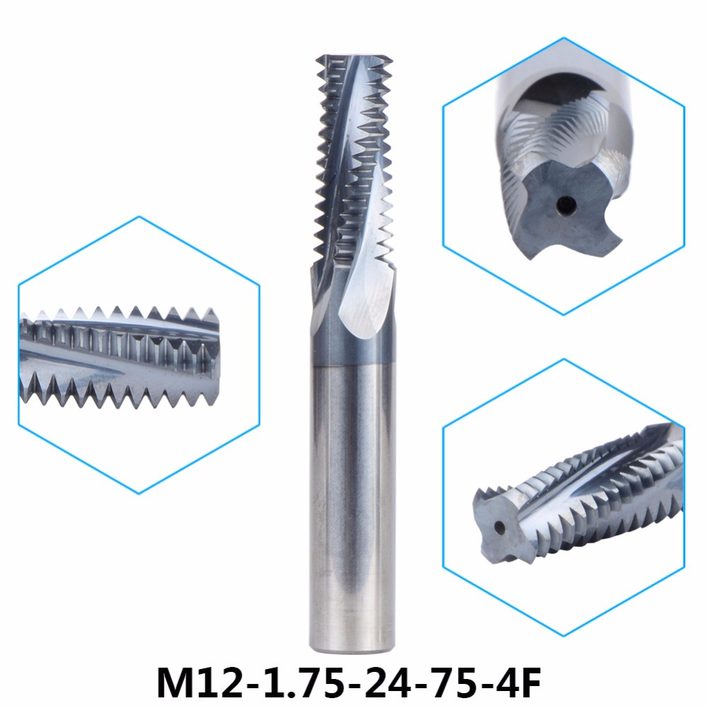 Tungsten Carbide thread end mill M12 thread milling cutters 1pc M12-1.75-24-75-4F with P1.75 TIALN coating Metric 1.75mm Pitch carbide thread end mill m8x1 25 thread mills thread milling cutter with tialn coating