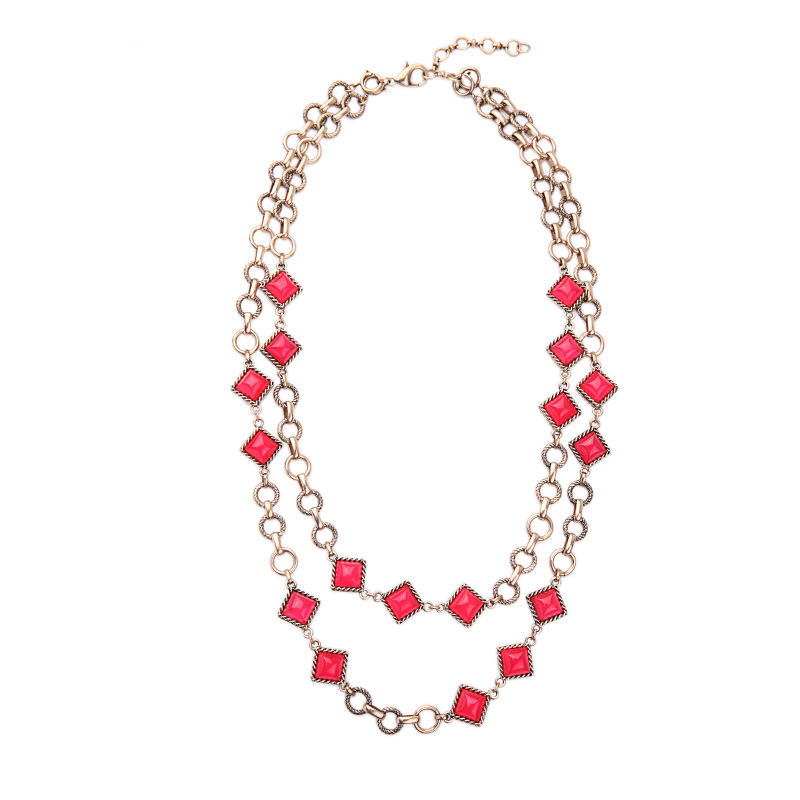 Square Acrylic Charm Red Necklace Geometric Statement Removable Chain Necklace Accessories Gold Color