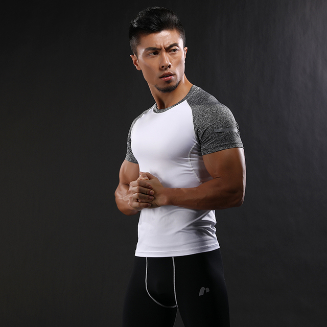 b027911d1257 Quick Dry Slim Fit Tees Men Patchwork T Shirts Compression Shirt Tops Bodybuilding  Fitness O Neck Short Sleeve T Shirt-in T-Shirts from Men's Clothing on ...