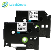 2 Packs TZe231 12mm Compatible Brother TZe Laminated Label Tape TZe-231 Black on White for Brother P-touch Label Makers