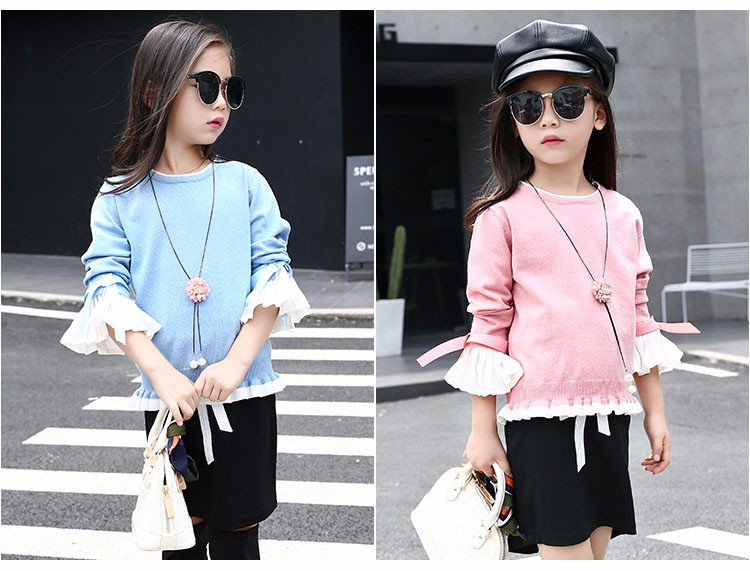 knitting little teenage girls clothes suits autumn 2016 children clothing set for girl pink blue knit sweater tops long sleeve black skirts clothes set 2016 6 7 8 9 10 11 12 13 14 15 16 years old big girl 2 pcs clothing sets (13)