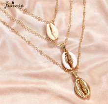 Jisensp New Fashion Gold Colour Natural Shell Necklace for Women Simple Seashell Ocean Beach Boho Bohemian Jewelry Gift