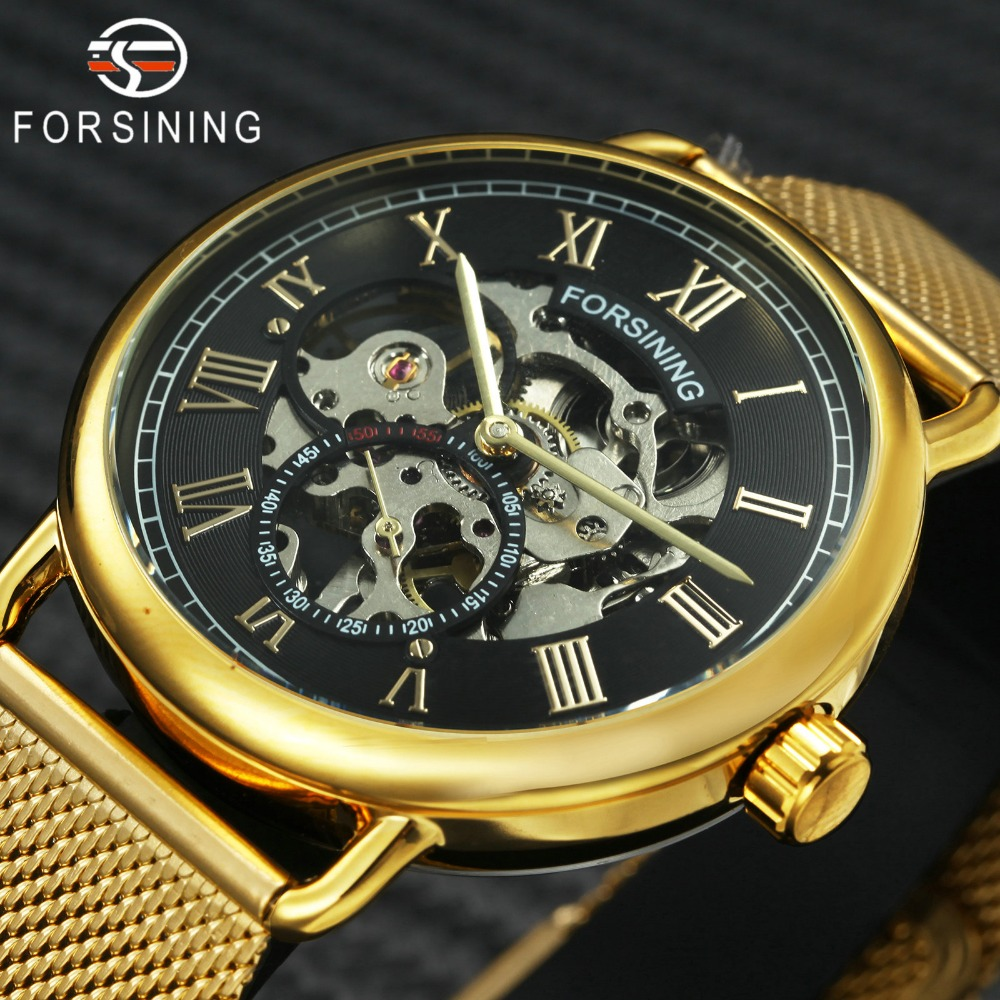 Golden Mechanical Ultra Thin Steel Mesh Strap Roman Numerals Skeleton Golden Wristwatches