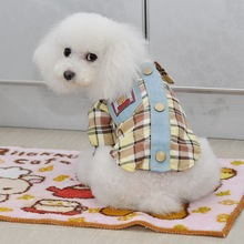 British Style Plaids Grids Checker Dog Shirt Lapel Costume Cat Puppy Clothes T-shirt Clothing For Pet Dogs 2 Color 6 Size