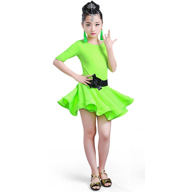 Students Children Kid Latin Dancewear Competition Dancing Clothing Girl  Dance Costume Child Latin Ballet Dance Dress For Girls 184748fcf72c