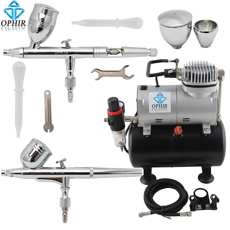 OPHIR 2-Airbrushes Dual Action Air Brush Kit with Air Tank Compressor for Cake Hobby Tattoo Painting Airbrushing _AC090+004A+006 ophir professional dual action airbrush compressor kit with air tank for cake decorating model hobby tattoo  ac053 ac004 ac070