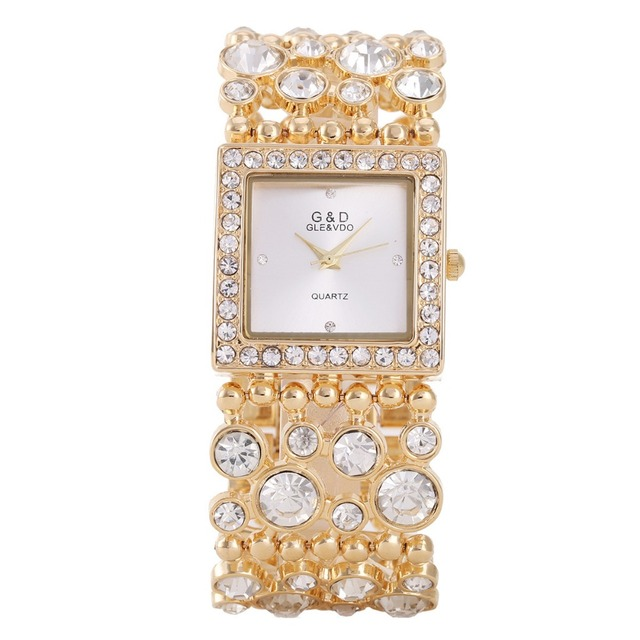 G&D Luxury Brand Women's Bracelet Watches Gold Rhinestone Jewelry Lady's Dress W
